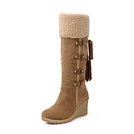 Women's Boots Spring Fall Winter Fabric Office & Career Casual Wedge Heel Black Beige Light Brown