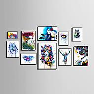 Abstrakt Blomstret/Botanisk Dyr Mennesker Innrammet Lerret Innrammet Sett Veggkunst,PVC Materiale Svart Ingen Passpartou med ramme For