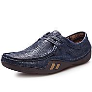 baratos Sapatos Masculinos-Homens sapatos Pele Napa Primavera / Verão / Outono Conforto Oxfords Preto / Azul Escuro / Amarelo / Festas & Noite
