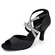 baratos Sapatilhas de Dança-Feminino Latina Jazz Salsa Sapatos de Swing Cetim Sandália Salto Ensaio/Prática Iniciante Profissional Interior Apresentação Pedrarias