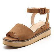 baratos Sapatos de Tamanho Pequeno-Mulheres Sapatos Couro Ecológico Verão / Outono Sandálias Sem Salto Ponta Redonda Presilha Bege / Amarelo / Rosa claro
