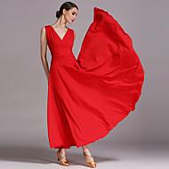 Danse de Salon Femme Utilisation Soie Glacée Volants Sans Manches Robe
