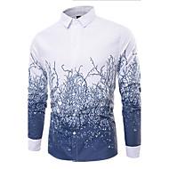 Masculino Camisa Social Casual Simples Estampado Algodão Colarinho de Camisa Manga Longa