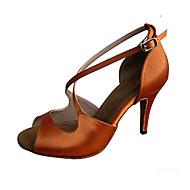 baratos Sapatilhas de Dança-Mulheres Latina Jazz Sapatos de Swing Salsa Cetim Sandália Salto Interior Espetáculo Profissional Iniciante Ensaio/Prática Lantejoulas