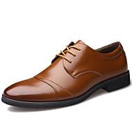 Masculino sapatos Couro Primavera Verão Outono Inverno Botas da Moda Conforto Oxfords Cadarço Para Casual Festas & Noite Preto Marron