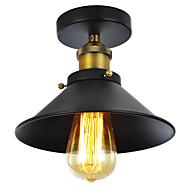 abordables -lumière semi-encastrée noire mi-hauteur de 60w vintage en métal noir avec 1 finition peinte en lumière