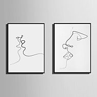 E-HOME® Framed Canvas Art Abstract Love Kiss Theme Series Framed Canvas Print One Pcs