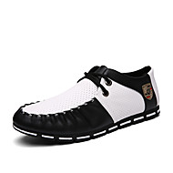 Men's Oxfords Comfort Couple Shoes Driving Shoes PU Summer Casual Comfort Couple Shoes Driving Shoes Lace-up Flat HeelWhite Black