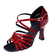 baratos Sapatilhas de Dança-Mulheres Sapatos de Dança Latina / Sapatos de Jazz / Sapatos de Salsa Cetim / Courino Sandália / Salto Presilha / Fru-Fru Salto