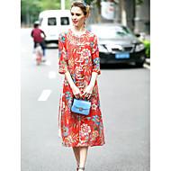 Χαμηλού Κόστους REVIENNE BAY®-Γυναικείο Εξόδου Κινεζικό στυλ Σε γραμμή Α Φόρεμα,Φλοράλ ¾ Μανίκι Στρογγυλή Λαιμόκοψη Μίντι Μετάξι Λινό Άνοιξη Καλοκαίρι Κανονική Μέση
