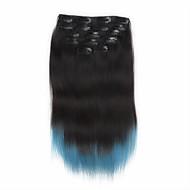 7pcs/set 18Inch Clip In Human Hair Extensions 85g Ombre Highlighted Straight Hair