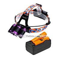 U'King Čelovky Přední světla LED 6000 lm 3 4.0 Režim Cree XM-L T6 s bateriemi a nabíječkou Zoomovatelné Nastavitelné zaostřování