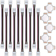 zdm 5pcs conector divisor rápida forma 10 milímetros 4 condutores para 5050 rgb com 10pcs 5050 rgb conector luz tira