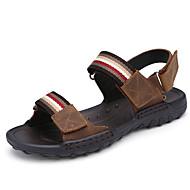 Homens sandálias primavera verão queda conforto couro ao ar livre escritório&Carreira vestido casual luz água marrom sapatos