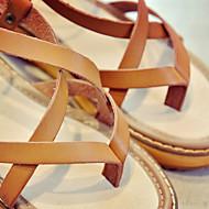 baratos Sapatos Femininos-Mulheres Couro Ecológico Verão Conforto Sandálias Sem Salto Ponta quadrada Presilha Branco / Preto / Castanho Claro