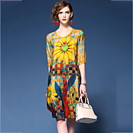 cheap -Women's Going out Chiffon Dress - Floral Print V Neck Summer Red Yellow L XL XXL / Loose
