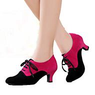 baratos Sapatilhas de Dança-Mulheres Sapatos de Dança Moderna Camurça Salto Salto Cubano Personalizável Sapatos de Dança Preto / Fúcsia / Preto / Vermelho / Interior