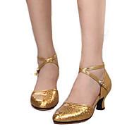 billige Moderne sko-Dame Moderne sko Lær Høye hæler Kustomisert hæl Kan spesialtilpasses Dansesko Gull / Sølv / Rød / Innendørs