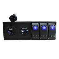 dc 12v / 24v førte digitale 3.1a dual usb oplader voltmeter sokkel med rocker switches jumper ledninger og boliger holder