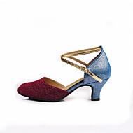 billige Moderne sko-Dame Moderne sko Glimtende Glitter Høye hæler Gummi Kustomisert hæl Kan spesialtilpasses Dansesko Gull / Blå / Innendørs