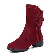 baratos Sapatilhas de Dança-Sapatos de Dança(Preto Vermelho Escuro) -Feminino-Não Personalizável-Latina Jazz Moderna