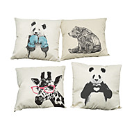 Set of 4 mascot animals pattern Linen Pillowcase Sofa Home Decor Cushion Cover