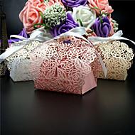 ieftine Big Heard Love®-Rotund Pătrat Creative Hârtie perlă Favor Holder cu Panglici Imprimare Cutii de Savoare