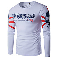 Homens Tamanhos Grandes Camiseta - Esportes Activo Estampado, Estampa Colorida Algodão Linho Decote Redondo