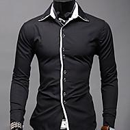 Herre - Ensfarvet, Trykt mønster Skjorte Bomuld
