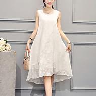女性用 プラスサイズ パーティー お出かけ ストリートファッション シルク ルーズ ドレス - ラッフル, 刺しゅう 膝丈 アシメントリー ホワイト