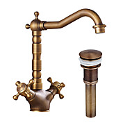 cheap Bathroom Sink Faucets-Bathroom Sink Faucet - Pre Rinse Widespread Rotatable Antique Copper Centerset Two Handles One Hole