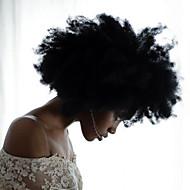 halpa -Naisten Aitohiusperuukit verkolla Aidot hiukset Lace Front Liimaton puoliverkko 130% Tiheys Afro Peruukki Musta Lyhyt Keskikokoinen Pitkä