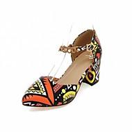 baratos Sapatos de Tamanho Pequeno-Mulheres Sapatos Courino / Couro Ecológico Primavera / Verão Conforto / Inovador Saltos Caminhada Salto Robusto / Salto de bloco Dedo