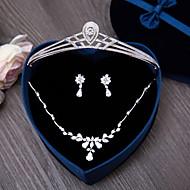 キュービックジルコニア 結婚式 パーティー 日常 ジルコン 髪飾り 1×ネックレス 1×イヤリング(ペア)