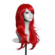 Naisten Synteettiset peruukit Suojuksettomat Pitkä Laineikas Vaaleahiuksisuus Punainen Purppura Sininen Vihreä Otsatukalla Halloween