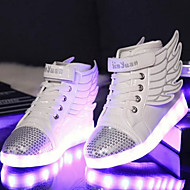 cheap Boys' Shoes-Boys' Shoes PU Spring Fall Light Up Shoes Novelty Comfort Sneakers Walking Shoes LED Magic Tape Lace-up for Athletic Casual Outdoor White