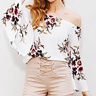 Langærmet Skulderfri Medium Damer Blomstret Sommer Simpel I-byen-tøj Ferie Bluse,Polyester