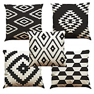 Set of 5 Black and white lattice Pattern  Linen Pillowcase Sofa Home Decor Cushion Cover (18*18inch)
