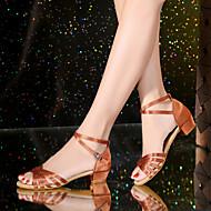 billiga Dansskor-Barn Latinamerikansk Satäng Konstläder Sandaler Sneakers Helsula Högklackade Inomhus Spänne Band Låg klackSilver Röd Blå Svart/röd