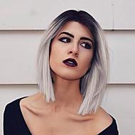 Ženy Krátký Béžová Šedá Růžová Zelená Rovné Ombre vlasy Tmavé kořínky Boční část Střih Bob Umělé vlasy Bez krytky Přírodní paruka Paruka