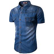 Pánské Jednobarevné Běžné/Denní Jednoduché Košile-Léto Bavlna Umělé hedvábí Košilový límec Krátký rukáv Modrá Tenké