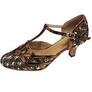 baratos Sapatilhas de Dança-Mulheres Sapatos de Dança Moderna Glitter Sandália Salto Personalizado Personalizável Sapatos de Dança Preto / Vermelho / Marrom