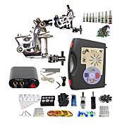 billige Tatoveringssett for nybegynnere-BaseKey Tattoo Machine Startkit, 2 pcs tattoo maskiner med 10 x 5 ml tatovering blekk - 2 x stål tatoveringsmaskin til lining og