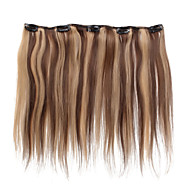5 Clips 18Inch Clip In Human Hair Extensions 41g Highlighted Straight Hair