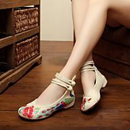 baratos Sapatos Femininos-Mulheres Sapatos Lona Primavera / Verão Conforto / Inovador / Sapatos bordados Oxfords Caminhada Sem Salto Ponta Redonda Presilha / Flor Vermelho / Verde / Azul Claro