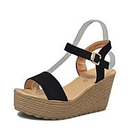 baratos Sapatos Femininos-Mulheres Sapatos Couro Ecológico Verão Creepers Sandálias Salto Plataforma Dedo Aberto Presilha Bege / Cinzento / Fúcsia / Calcanhares