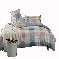 Duvet Cover Sets Stripe 4 Piece Cotton Reactive Print Cotton 1pc Duvet Cover 2pcs Shams 1pc Sham