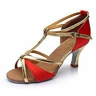 Χαμηλού Κόστους Παπούτσια χορού-Γυναικεία Παπούτσια χορού λάτιν Δερματίνη Πέδιλα / Τακούνια Αγκράφα Κουβανικό Τακούνι Εξατομικευμένο Παπούτσια Χορού Χρυσό / Καφέ /