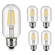 5pcs t45 4w e27 vintage levou lâmpada de filamento quente / legal cor branca estilo tubular retro edison lâmpada ac220-240v