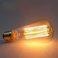 billige Glødelampe-1pc 60 W E26 / E27 ST64 Varm hvit 2300 k Kontor / Bedrift / Dekorativ Glødende Vintage Edison lyspære 220-240 V